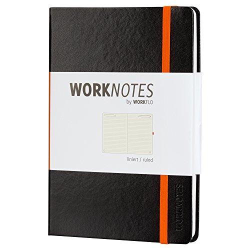 WORKNOTES Notizbuch a5 liniert - Das Notizbuch für Kreative und Macher von Workflo, 192 perforierte Seiten, Hardcover, schwarz
