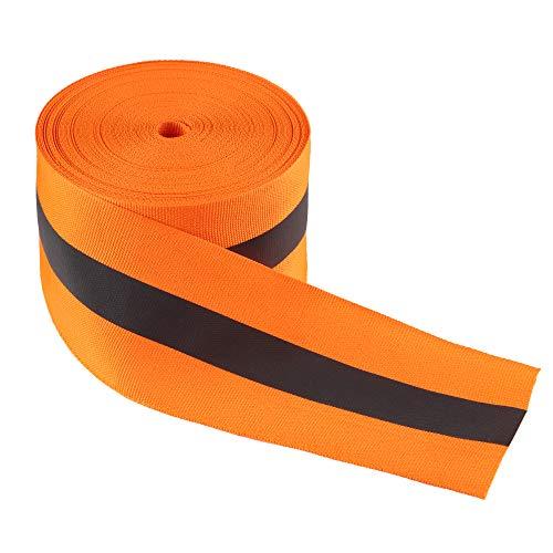 LLPT Reflektierendes Band zum Aufnähen , 5cm x 15m Nylon Silber fluoreszierendes Reflektorband , Sicherheit Reflexband Leuchtband zum Annähen , Orange (RRO250)