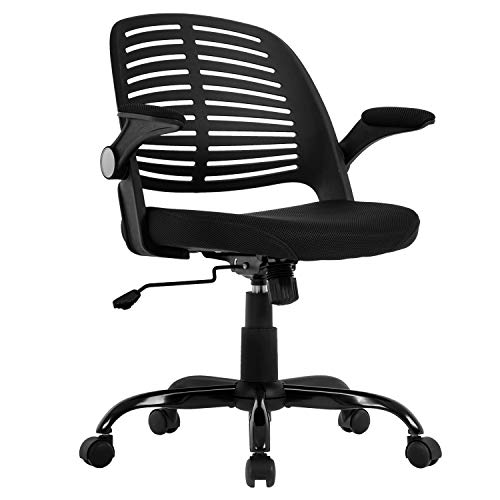 Home Office Chair, Executive Rolling Swivel Ergonomic Chair, Computer Chair with Flip Up Arms Lumbar Support Task Mesh Chair Heavy Duty Metal Base Desk Chairs,Black