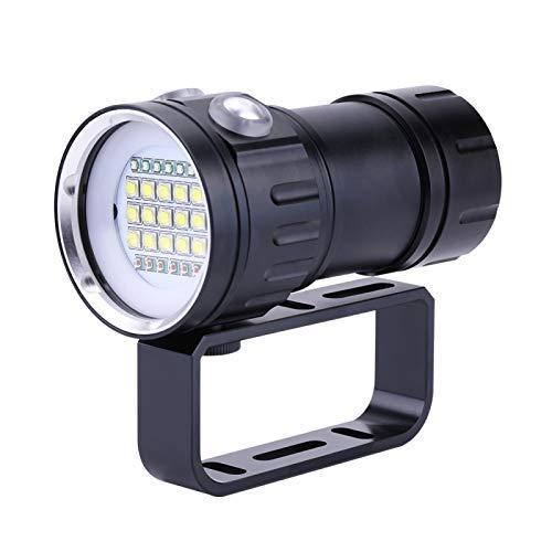 Linterna subacuática de 4.92 x 2.44 pulgadas, Ipx8 18000lm 300-500m Linterna de buceo LED para disparos subacuáticos y luz de relleno con soporte, adecuada para buceo