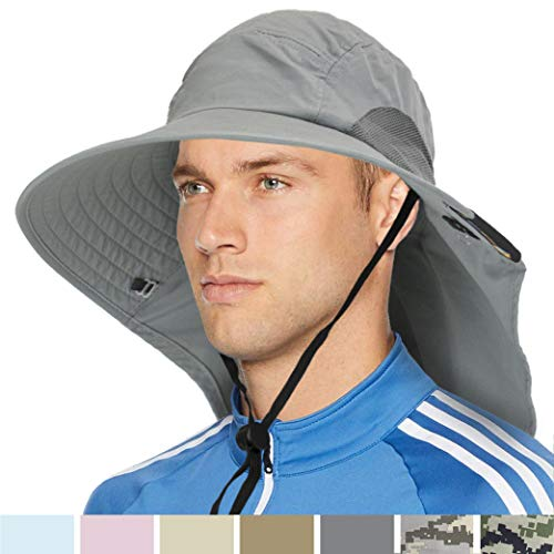 Wide Brim Sun Hat with Neck Flap, UPF50+ Hiking Safari Fishing Hat for Men Women Gray