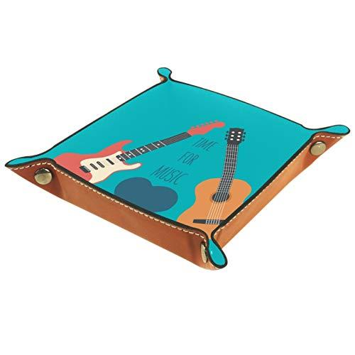 TIKISMILE Aufbewahrungstablett für Musik, E-Gitarre, Leder, Lippenstift, Kosmetik, Organizer, Tablett für Zuhause, Büro, Schreibtisch, Schlüssel, Kleinteile, quadratischer Teller