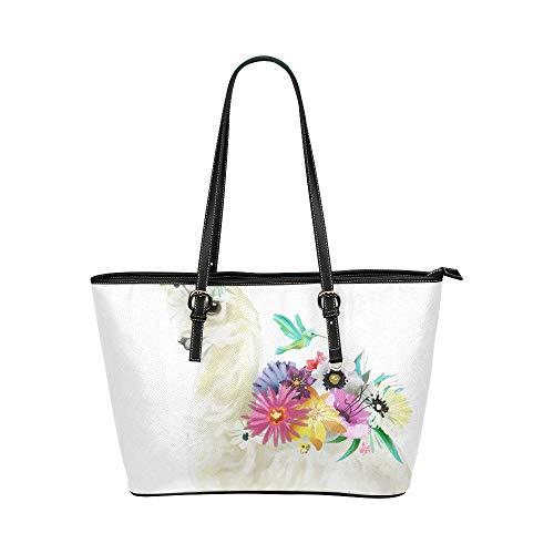 Alpaka Blumenmädchen lieben große weiche Leder tragbare Top Hand Totes Taschen kausalen Handtaschen mit Reißverschluss Schulter einkaufen Geldbörse Gepäck Veranstalter für Dame Girls Womens Work
