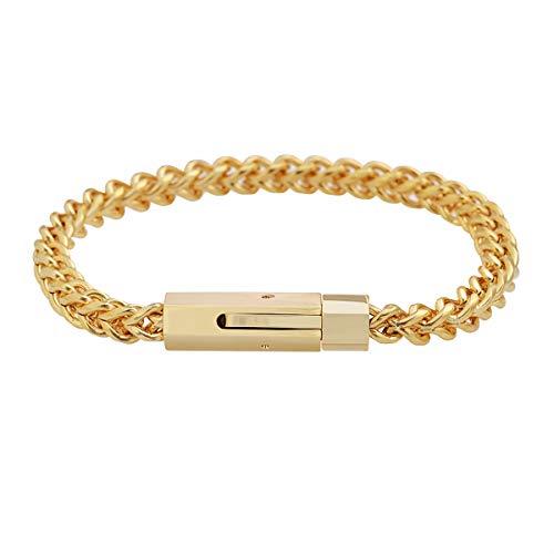 Geoffrey Beene Men's Stainless Steel 6mm Franco Link Chain Bracelet (Gold)