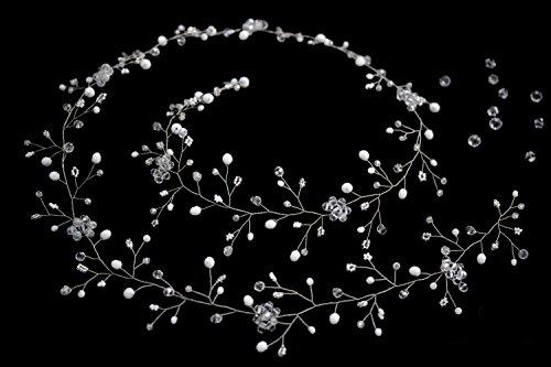 Handmadejewelrylady, accessorio nuziale per capelli da 100 cm in cristallo e strass. Gioiello per acconciature da sera e per occasioni speciali
