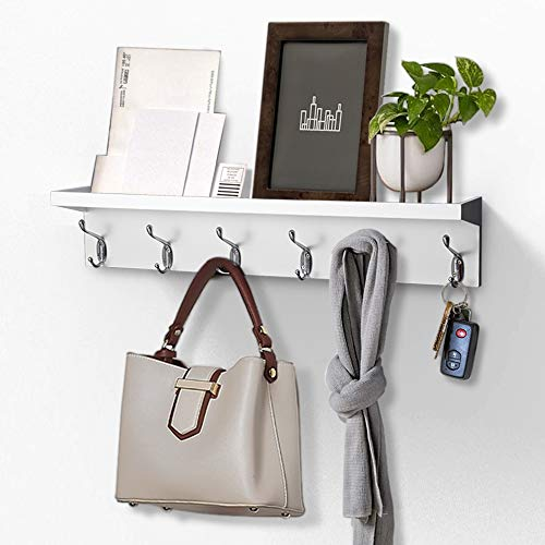 AHDECOR Entryway Floating Wall Mounted Coat Rack Storage Hanging Shelf with 6 Durable Hangers White 24 inch