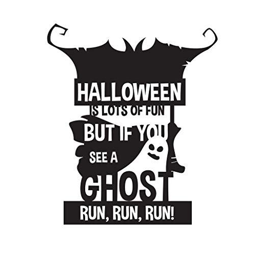 Feliz Halloween DIY Calcomanía Dibujos animados Calabaza Linterna lápida Ghost Run Cotizaciones Vinilo Arte Etiqueta de la pared Regalo para niños Sala de estar Dormitorio Decoración del hogar Mu