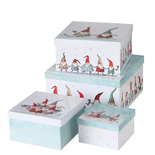 Set di 4 scatole regalo di cartone con gnomi danzanti di Natale, larghezza 15 - 30 cm