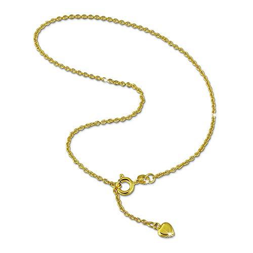 GoldDream Fußkette 333er Gelbgold 25cm Herz Damen Schmuck Goldfußkette von Gold Dream