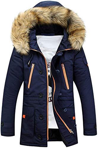 Bakugou Men's Cotton Loose Zipper Coat Winter Warm Plush Hoodie Collar Pockets Outwear Comfort Plus Size Jacket Windbreaker Parka