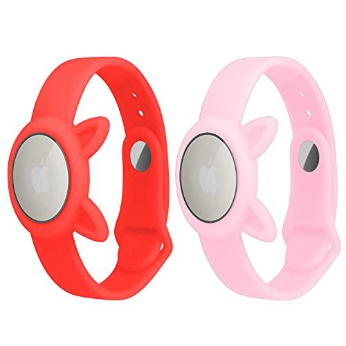 2 Pack AirTags Cinturino per orologio in silicone morbido,Sicurezza e Bambini Anti-perso, Anti-graffio Protettivo per il posizionamento Cinturino Tracker Airtag, Facile da trasportare (Rosa+Rosso)