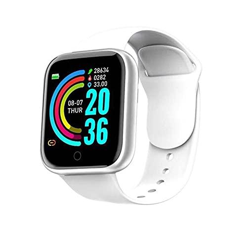 Reloj inteligente, rastreador de fitness con oxígeno en sangre, presión arterial, monitor de frecuencia cardíaca, Bluetooth, reloj inteligente para hombres y mujeres para Android iOS (color: blanco)