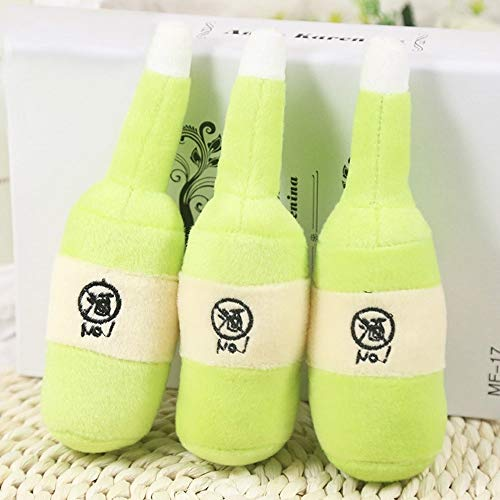 3 PCS Mascotas chillona látex Perro de Juguete Leche Botella de la Forma del Perrito de Familia de la Felpa Interactivo Juego de Pelota por Medio Pequeño Perros Huangchuxin (Color : Green)