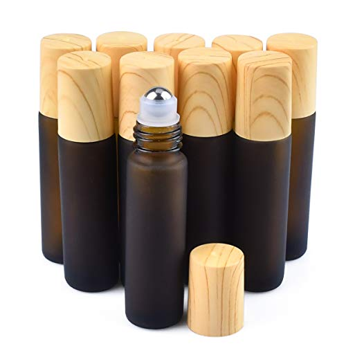 Amber Frosted Glass Roller Bottles Essential Oils Roller Bottles10pcs Brown Glass Bottles 10ml Empty Refillable Roller Bottle With Stainless Steel Roller Balls For Sample Essential Oil Container