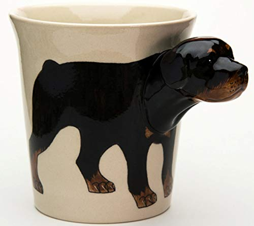 b2see Rottweiler-Hund-e-Tasse Tier Tasse-3d Becher Keramik Tasse-mit-Hund-emotiv Hundekopf 14 x 15 x 10 cm