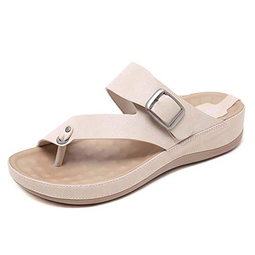 LTLGHY Orthotic Sandals Women Buckle Slides with Arch Support Flip Flops for Plantar Fasciitis Flat Feet Ideal for Walking, Garden, Beach & Travel Activities,Apricot,41