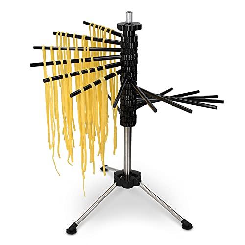 Navaris Secador de Pasta Fresca - Secador Pasta de Acero Inoxidable con recetario - Colgador para Pasta Fresca tallarines máx. 2 KG - En Negro
