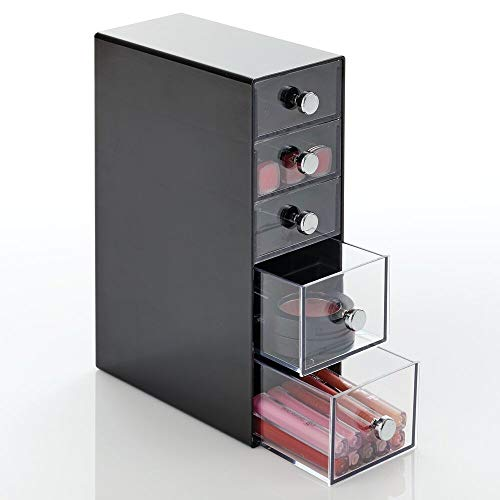 mDesign Plastic Cosmetic Storage Organizer for Bathroom Vanity, Cabinet, Counters - Holds Lip Gloss, Eyeshadow Palettes, Makeup Brushes, Blush, Mascara, Lipstick, Hair Ties - 5 Drawers - Back/Clear