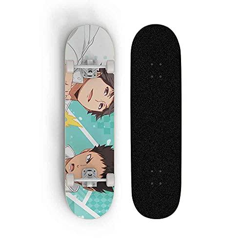 Kssmice Haikyuu !!Hinata Shoyo, Tablero Completo de Skateboard, Adecuado para Adolescentes, Arce Concave Deck Cruiser, Kick Scooter, Mejor cumpleaños