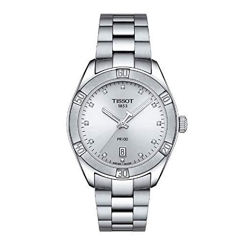 Tissot PR 100 Sport Chic Lady/orologio donna/quadrante argentato/cassa e bracciale acciaio