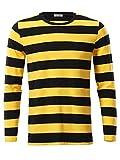 VETIOR Men's Bee Costume Black Yellow Striped Shirt Round Neck Long Sleeve
