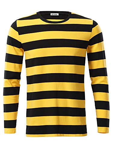 Men's Yellow and Black Striped Sweater