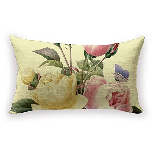 Hustor Rosas ramo Redoute - Funda de almohada de lino y algodón, para sofá, cama, coche, 30,5 x 50,8 cm