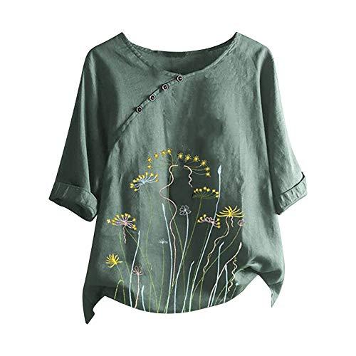 Camisas de mujer Blusas tallas grandes, casual cuello en O impreso botón...
