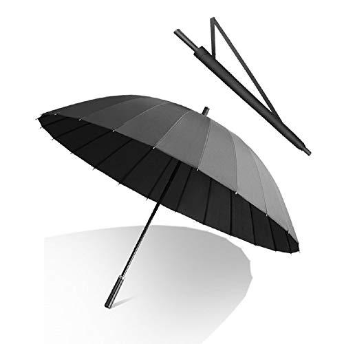 HappyGo 2~3 Personen erhältlich super Winddicht 24 Rippen hochfeste Glasfaser Lange Ledergriff Anti-Splash Regenschirm-Tasche, Mehrfarbig optional