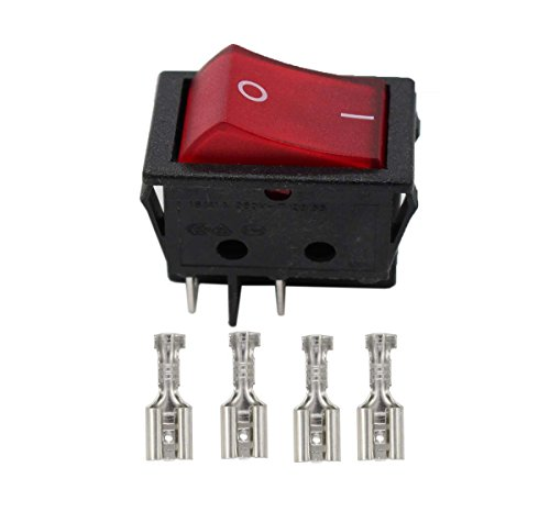 XtremeAmazing Rocker Switch Red Illuminated Double Pole 20A 16A