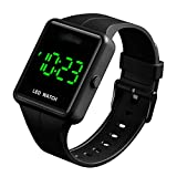 Simple Men Women Sports LED Digital Big Display Waterproof Date PU Strap Square Electronic Couple Watch (Black)