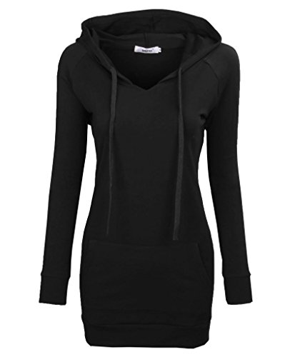 BEPEI Business Casual Tops for Women,Ladies Career Blouses for Office Work Professional Clothes Long Sleeve V Neck Shirt with Pocket Female Formal Tunic Hoodie Plus Size Black 2XL