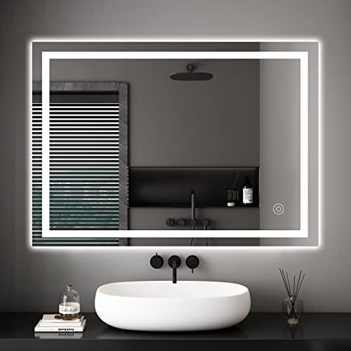 Badezimmerspiegel Dripex Wandspiegel LED Badspiegel mit Beleuchtung mit Touch-Schalter Beschlagfrei Kaltweiß 6400K Energiesparend Lichtspiegel 50x70 cm