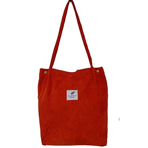 Funtlend Handtasche Damen groß Cord Tasche Damen Handtasche Shopper Damen für Uni Arbeit Mädchen Schule (Rot-A)