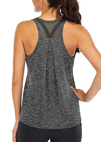 ICTIVE Workout Tops for Women Loose fit Racerback Tank Tops for Women Mesh Backless Muscle Tank Running Tank Tops Workout Tank Tops for Women Yoga Tops Athletic Exercise Gym Tops Dark Gray L