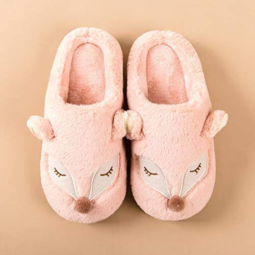 B/H Memory Foam - Zapatilla de casa para Exteriores,Cute Cartoon Women Slippers Cartoon Winter   Plush Flat Shoes-Pink_40-41, Zapatillas de Felpa Suave