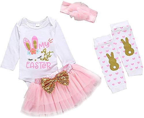 Conjunto de ropa de bebé recién nacido, con texto en inglés 'My First Easter 'My First Easter', juego de falda tutú, calentadores de piernas y diadema, 4 piezas
