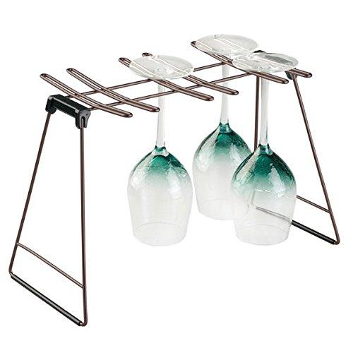mDesign Abtropfgestell für bis zu 6 Weingläser – Weinglas Ständer aus Metall und Kunststoff – auch zur Aufbewahrung von Gläsern geeignet – schwarz/bronzefarben