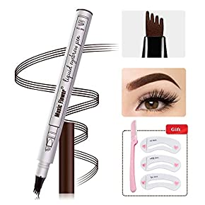 Eyebrow Tattoo Pen,Microblading Eyebrow Pen Tat Brow Microblade Eyebrow Pencil Waterproof & Smudge-Proof With Four Micro-Fork Tips Applicator for Daily Natural Eye Makeup