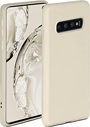 ONEFLOW Funda blanda compatible con Samsung Galaxy S10, de silicona, borde elevado para protección de pantalla, doble capa, suave, color crema mate