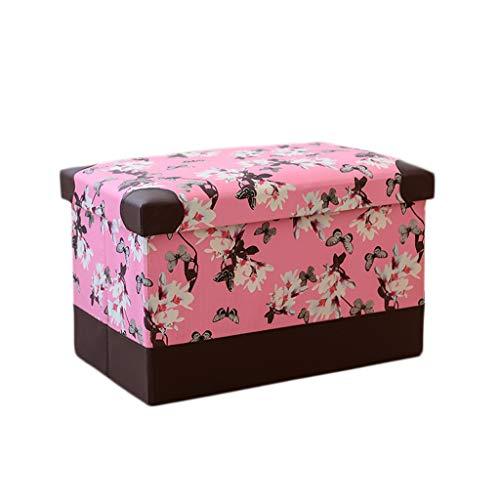 Wddwarmhome Pouf pliable en polyuréthane, boîte de rangement, articles divers pour le ménage, tabouret de rangement, charge maximale 150 kg - facile à nettoyer ( Couleur : Pink , taille : 40*25*25cm )