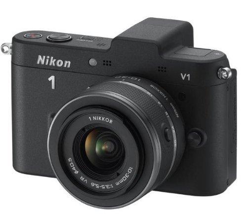 Nikon 1 V1 Systemkamera (10 Megapixel, 7,5 cm (3 Zoll) Display) schwarz inkl 1 NIKKOR VR 10-30 mm Objektiv