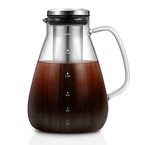 1,5L Cold Brew-Kaffeebereiter, Kaltbrüh-Kaffeemaschine, Trinkfertige Kalten Schwarzen Kaffee Brauen Glaskanne und Cold Brew Teekanne, Filter & Brüheinheit Set für Kaffee Tee Punsch Fruchtsäfte