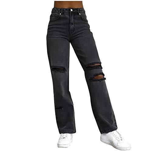 Ghemdilmn Damen Einfarbig Hohe Taille Zerrissene Destroyed Jeans Baggy Boyfriend Stil Jeanshosen mit Weites Bein Lose Denim Hose mit Geradem Bein Risse Ripped Jeans