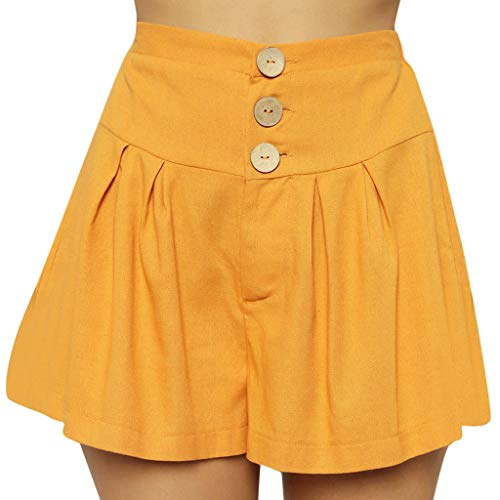 Buy Women High Waist Boho Shorts Casual Wide Leg Short Pants Button Elastic Waist Beach Shorts Loose...