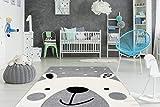 One Couture Kinderteppich Eisbär Bär Motiv Kinderzimmer Teppich Weiß Grau Schwarz Wohnzimmerteppich Esszimmerteppich Teppichläufer Flur-Läufer, Größe:80cm x 150cm, MD2-2232