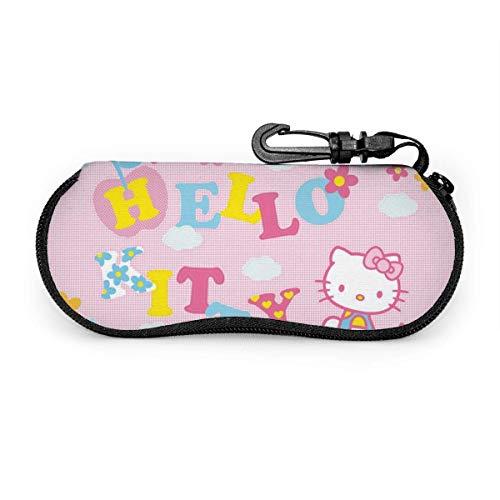 Funda De Gafas Del Sol,Dibujos De Hello Kitty,Estuche Unisex Para Gafas,Funda De Neopreno Con Cremallera Gafas,Estuche Portátil Para Las Gafas