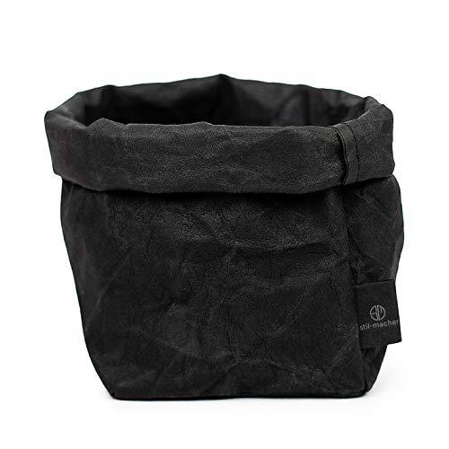 stil-macher Designer Krempelkorb - Gr. M - | Aufbewahrungskorb aus waschbarem Papier | Lederoptik | VEGAN | Deko-Box | Geschenkbox | Übertopf (Schwarz, Eckig)