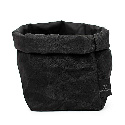 stil-macher Designer Krempelkorb - Gr. M -   Aufbewahrungskorb aus waschbarem Papier   Lederoptik   VEGAN   Deko-Box   Geschenkbox   Übertopf (Schwarz, Eckig)