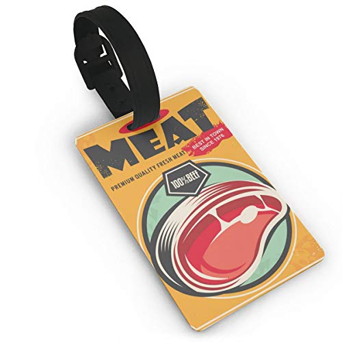 IOGHIMNIR Retro Metal Sign Fresh Meat Promotional Travel Accessory Luggage ID Tag Women & Men PVC 3.7 X 2.2 Inch Suitcase Tags Carry-on with Strap for Girls Bous Kids, Suitcase Label for Travel